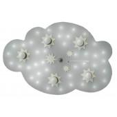 Sternenwolke, E14, 5-flammig, mit Schalter, silber