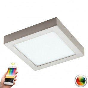 Fueva-C, LED, 22,5 x 22,5 cm, Farbwechsel, CCT, Nickel-matt