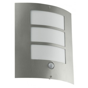 City, E27, IP44, mit Sensor, metallisch
